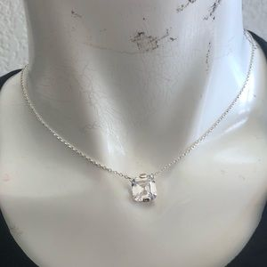 NWT INC large Asscher cut cubic Zirconia Necklace